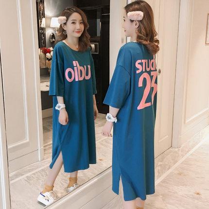 2019夏季中长款短袖纯棉印花t恤裙