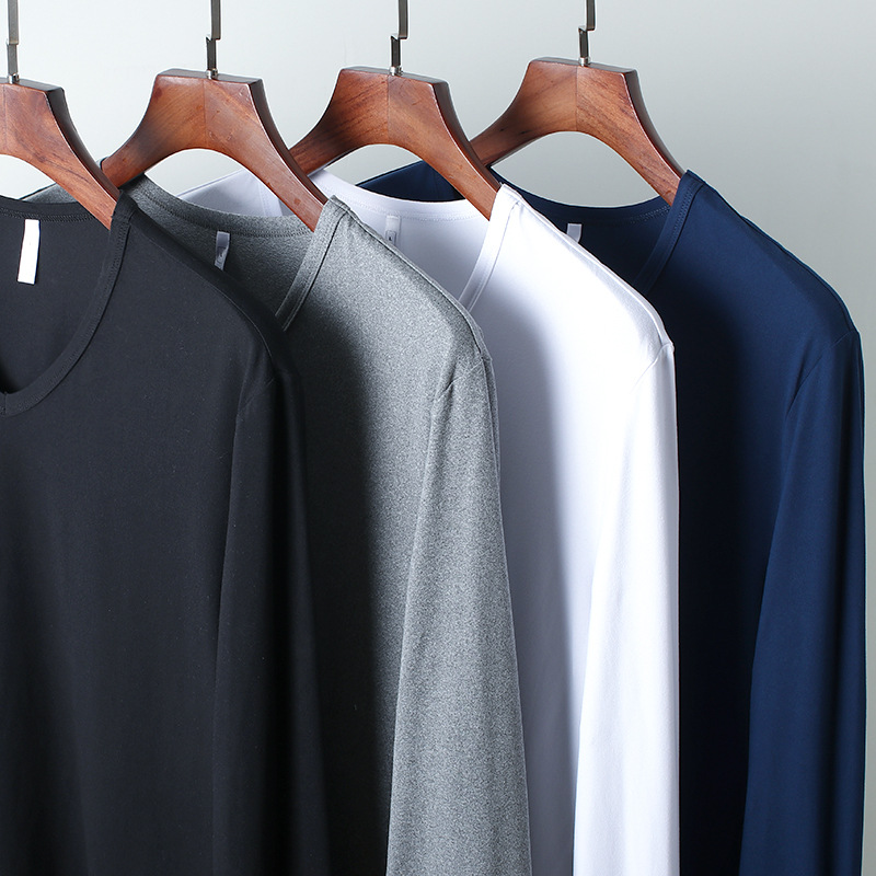 Factory casual solid color straight round neck long sleeve T-shirt for mens fashion high elastic Pullover and mohair bottoming shirt for men