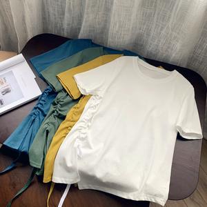 玖扣大碼女裝2020夏季新款加肥加大純色圓領不規則抽繩短袖T533