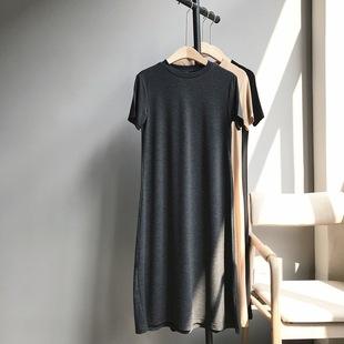 玖扣時尚大碼女裝夏新款莫代爾棉短袖小A純色長款T恤打底裙852