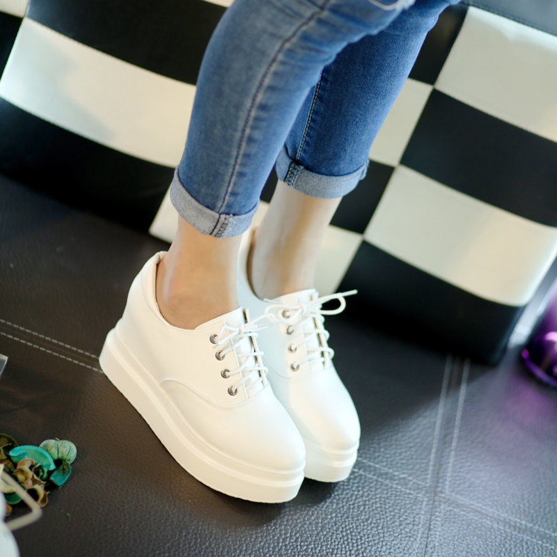 Spring and autumn high rise thick bottom slope heel lace up super high heels small white shoes womens single shoes 34 yards comfortable and versatile student Muffin