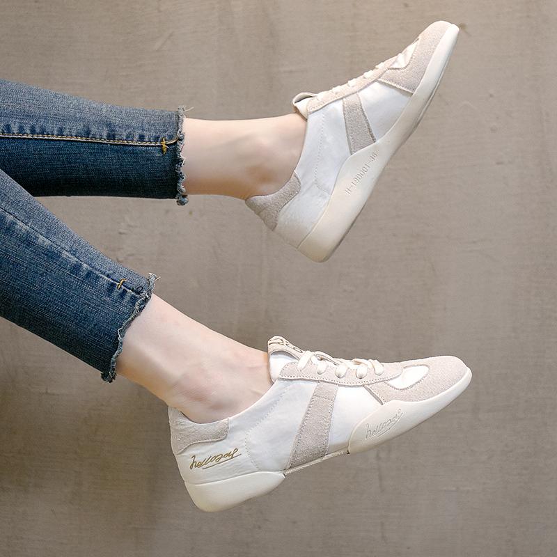 小白鞋女韩版百搭基础系带真皮系带透气休闲学生鞋板鞋运动跑步鞋