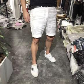 夏季薄款亚麻料白色短裤男纯色中裤西装五分休闲裤修身薄款大码潮