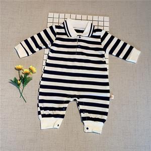 春秋季新款婴儿连体衣男宝宝衣服纯棉哈衣0条纹Polo翻领爬服女1岁