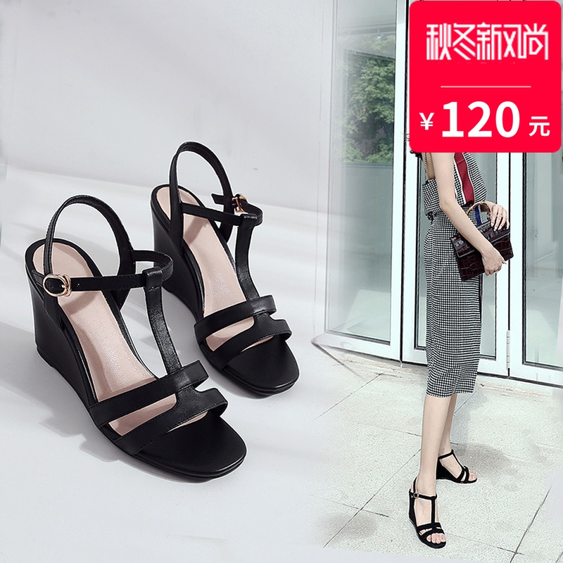 Leather Black slope heel sandals womens high heel 2020 new sexy personality leisure net red Rome T-shape with open toe