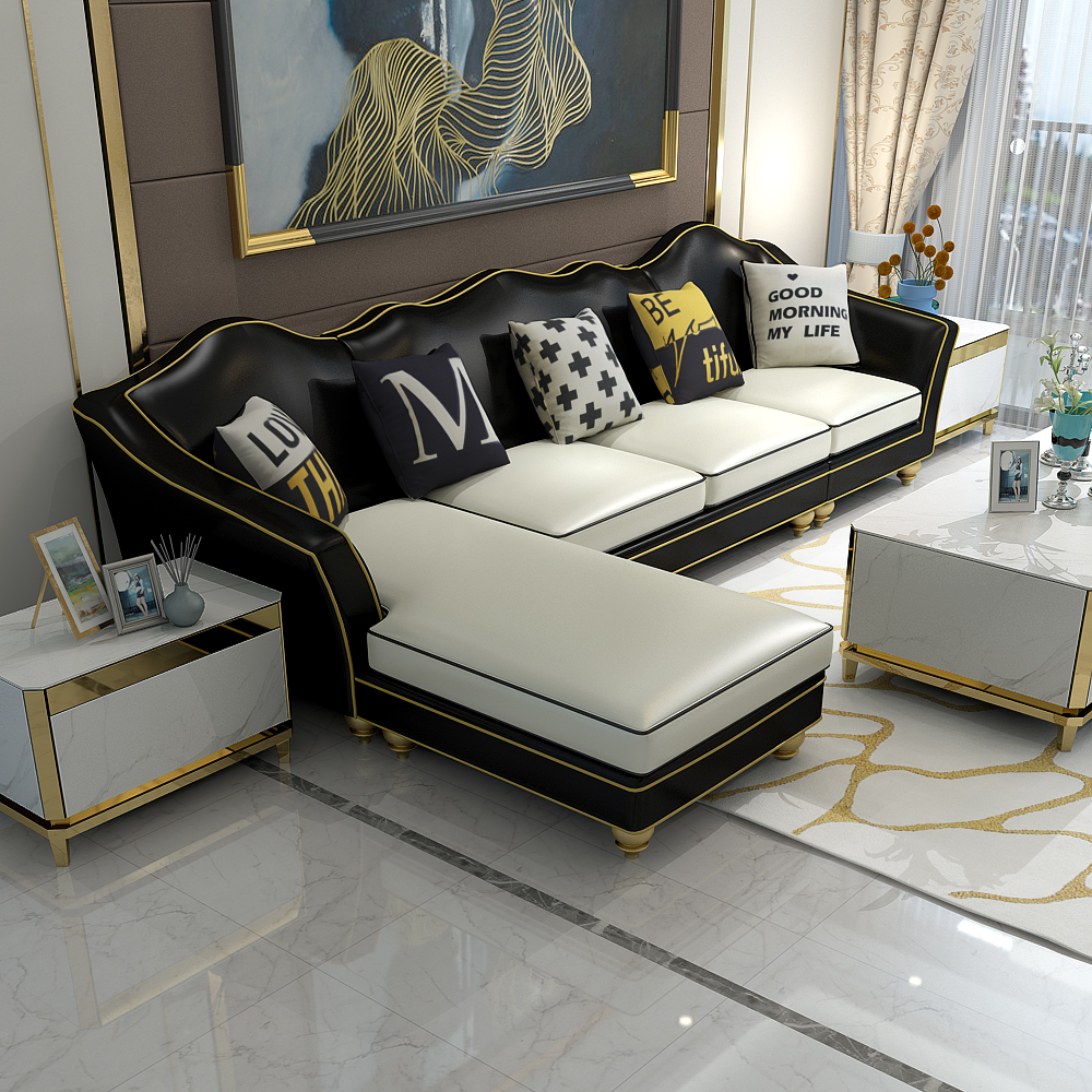 American light luxury postmodern neoclassical simple leather sofa three person four person corner living room combination leather art