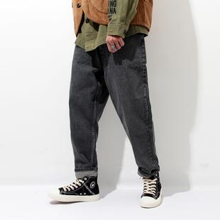 秋季牛仔褲男寬鬆大碼日系復古收口小腳褲潮流束腳哈倫褲男士褲子