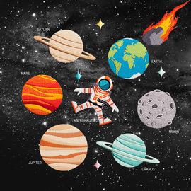 自粘布贴 宇宙太阳系星球宇航员地球月球 刺绣衣服装饰破洞修补贴