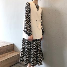 波点雪纺长袖连衣裙女圆领中长款森系气质韩版宽松遮肚子打底裙子图片