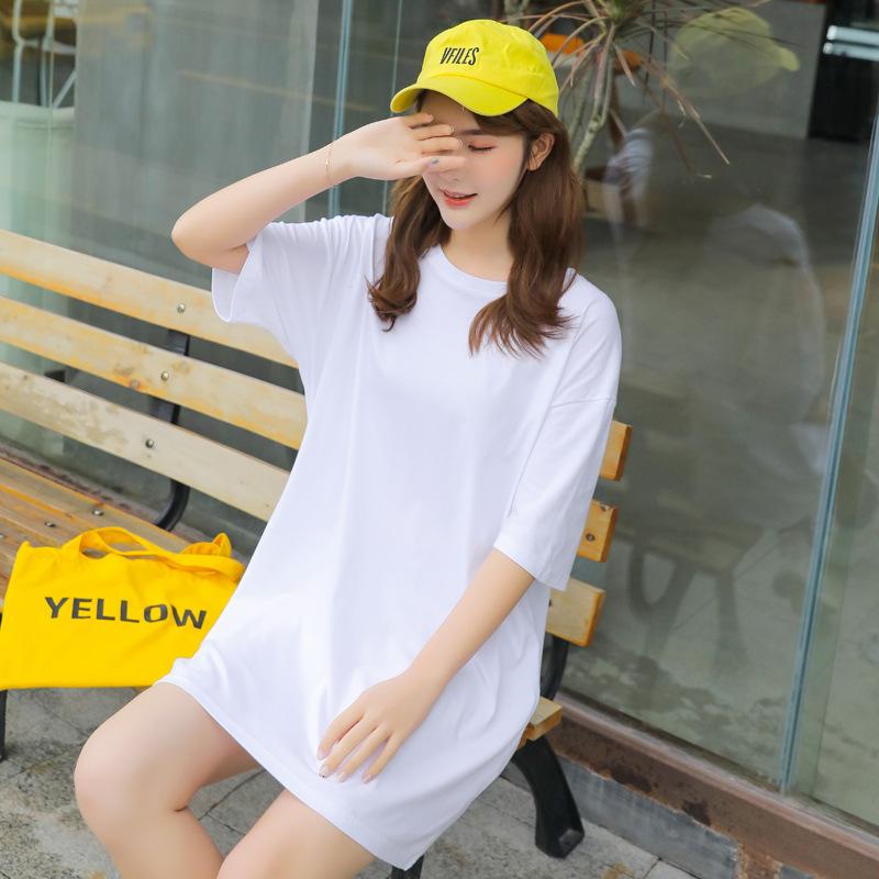 圆领女中长款短袖舒适运动白红t恤