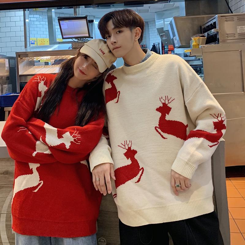 同色系情侣装冬季过年新年毛衣女2019新款韩版宽松加厚冬装外穿款