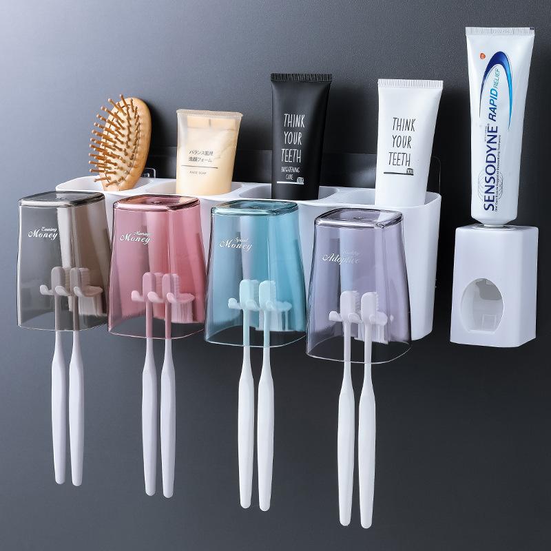 四口之家牙刷置物架套装刷牙漱口杯宜家用卫生间家庭免打孔壁挂式