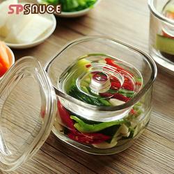 日本SP玻璃浅渍罐日式一夜渍腌菜罐重石玻璃渍物容器泡菜罐菜坛子
