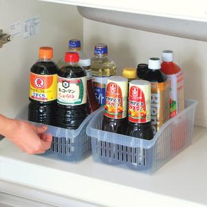 日本原裝進口廚房整理筐調味罐收納框雜物收納籃鏤空食品收納筐