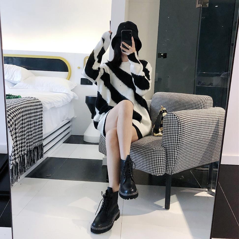 秋冬OFF新款OVER WHITE黑白色斑马线条破洞马海毛毛衣宽松针织衫
