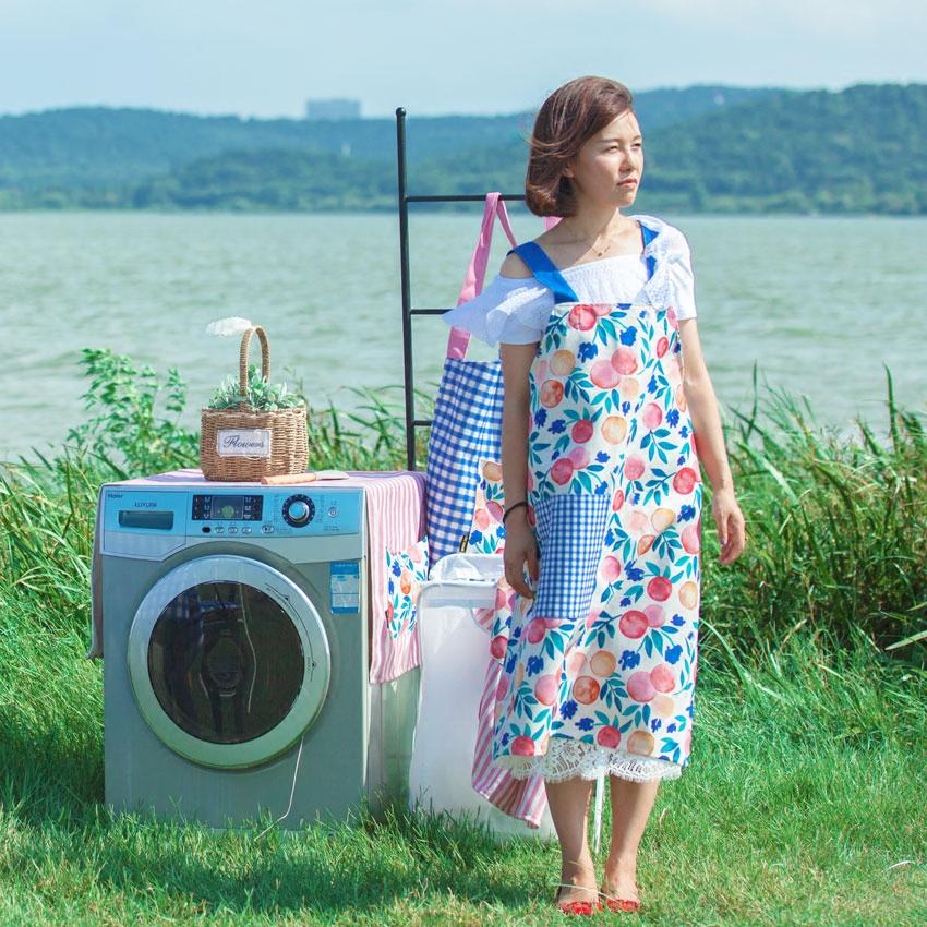 北欧棉麻围裙情侣无袖围裙布艺家居围裙烘焙围裙女围裙厨房围裙布