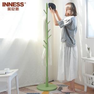 英尼斯 简易实木衣帽架落地创意衣架简约现代挂衣架卧室衣服架子