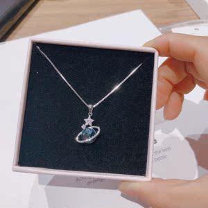 香港正生银饰新款深蓝色星球项链时尚气质纯银防过敏送女饰礼物