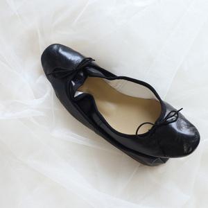 意大利同款手工芭蕾舞鞋黑色单鞋 浅口蝴蝶圆头平底鞋女
