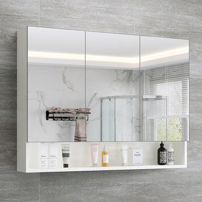 北欧实木浴室镜柜收纳一体镜箱镜子