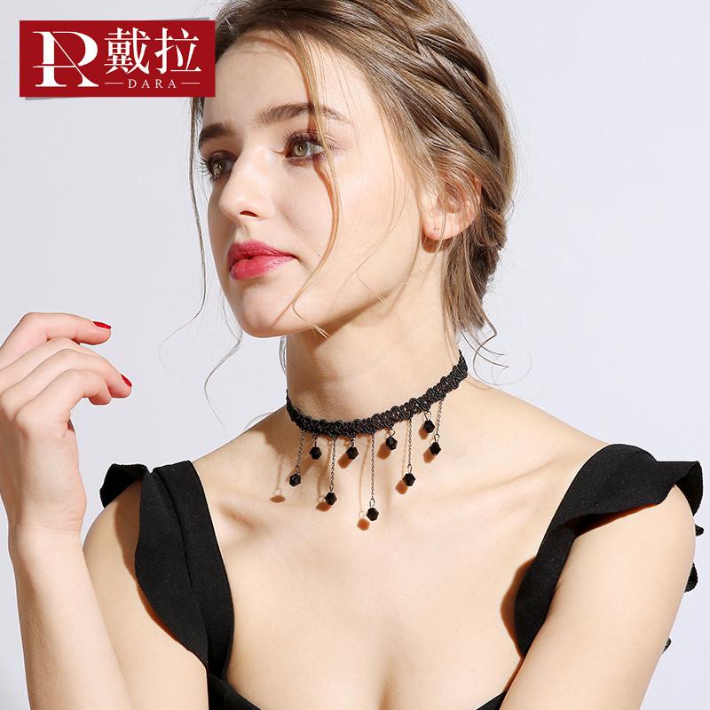 2020新款颈带锁骨链流苏chocker颈链女choker脖链网红项圈气项链