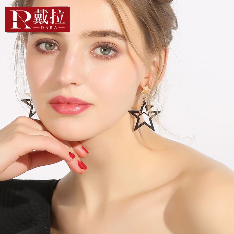 戴拉 时尚925银针五角星耳环女 日韩个性气质简约耳饰无耳洞耳夹
