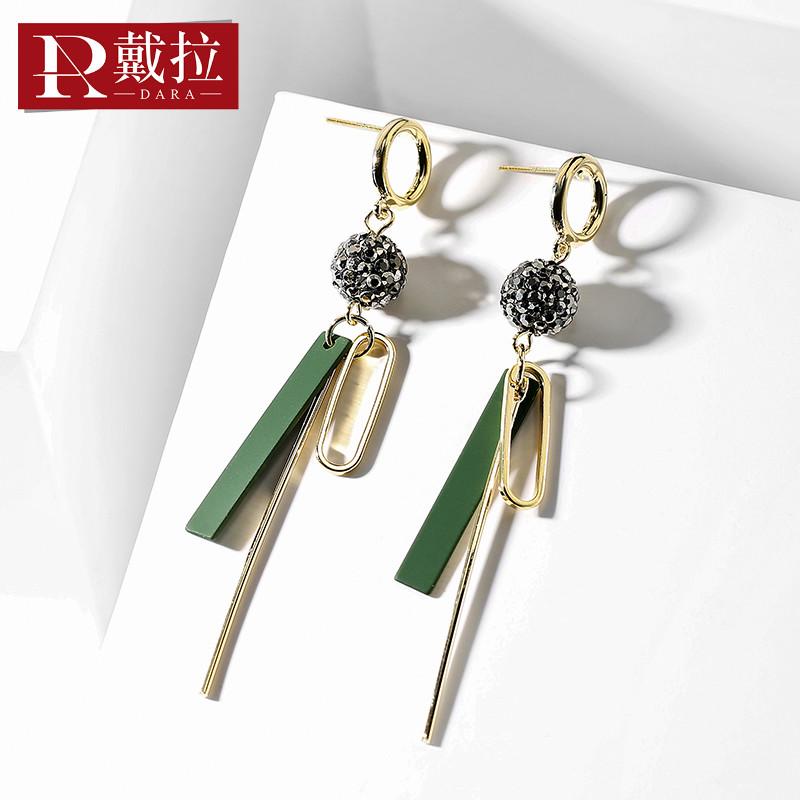 戴拉饰品925银针别针长款个性耳环女 韩国版时尚短发百搭气质耳饰