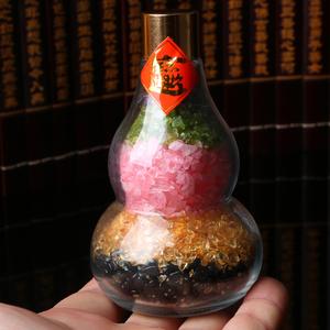 亲宝水晶天然黑曜石摆件粉晶黄水晶紫水晶葫芦把玩件 新年福利款