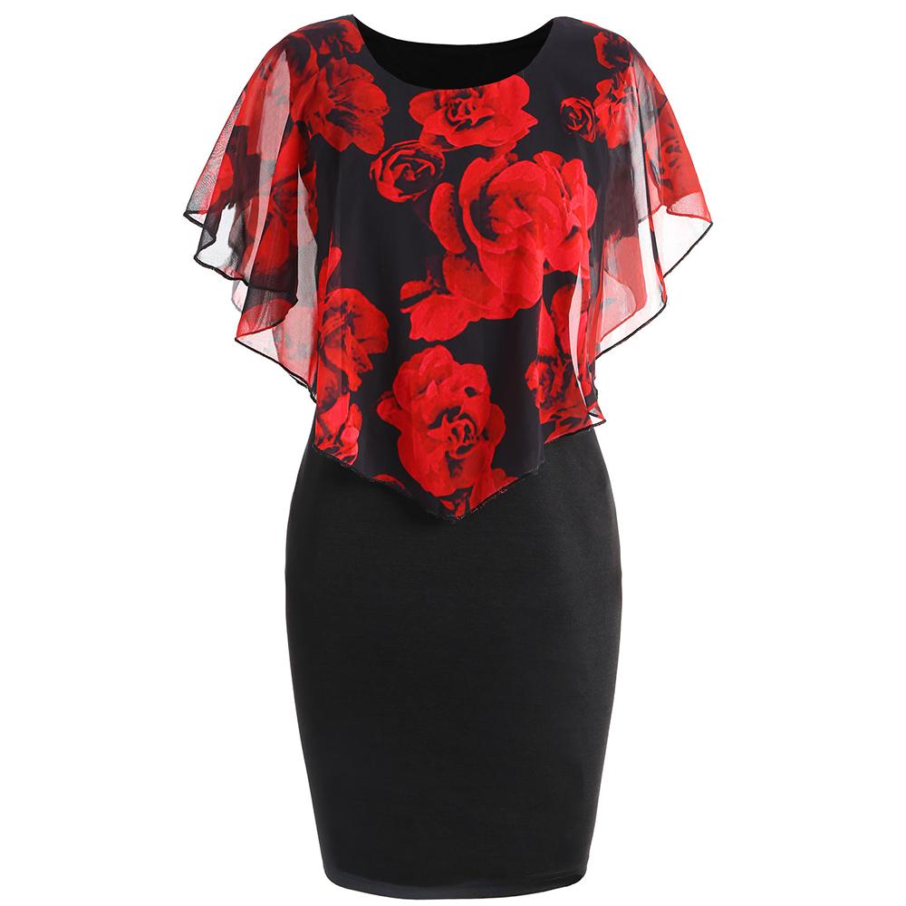 欧美风夏季新款玫瑰花印花披肩修身包臀短袖连衣裙女Dress women