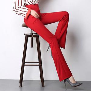 夏季薄款微喇长裤高腰松紧腰休闲裤西裤OL通勤显瘦女裤垂坠弹力裤