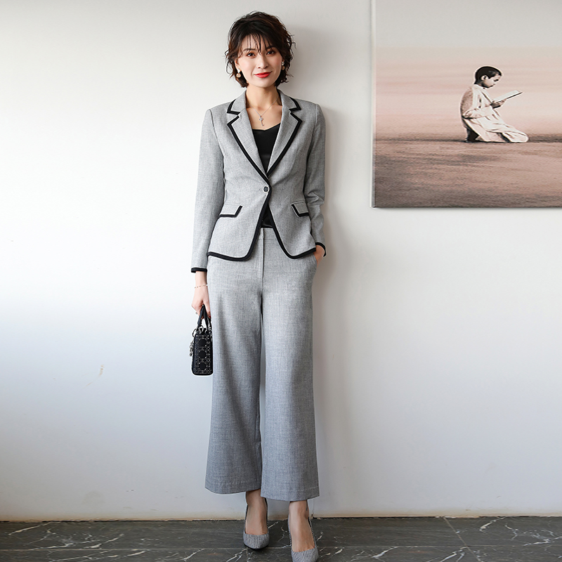 蒋菲菲studio 2019新款气质西装职业套装女正装商务女总裁阔腿裤