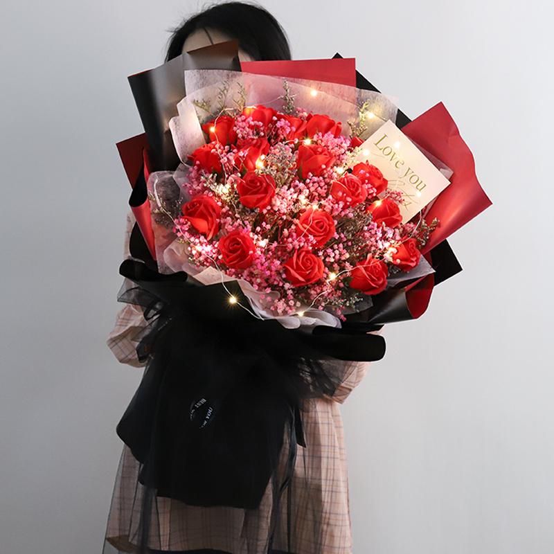 大束满天星干花花束玫瑰花礼盒花闺蜜生日礼物女情人节永生花风干