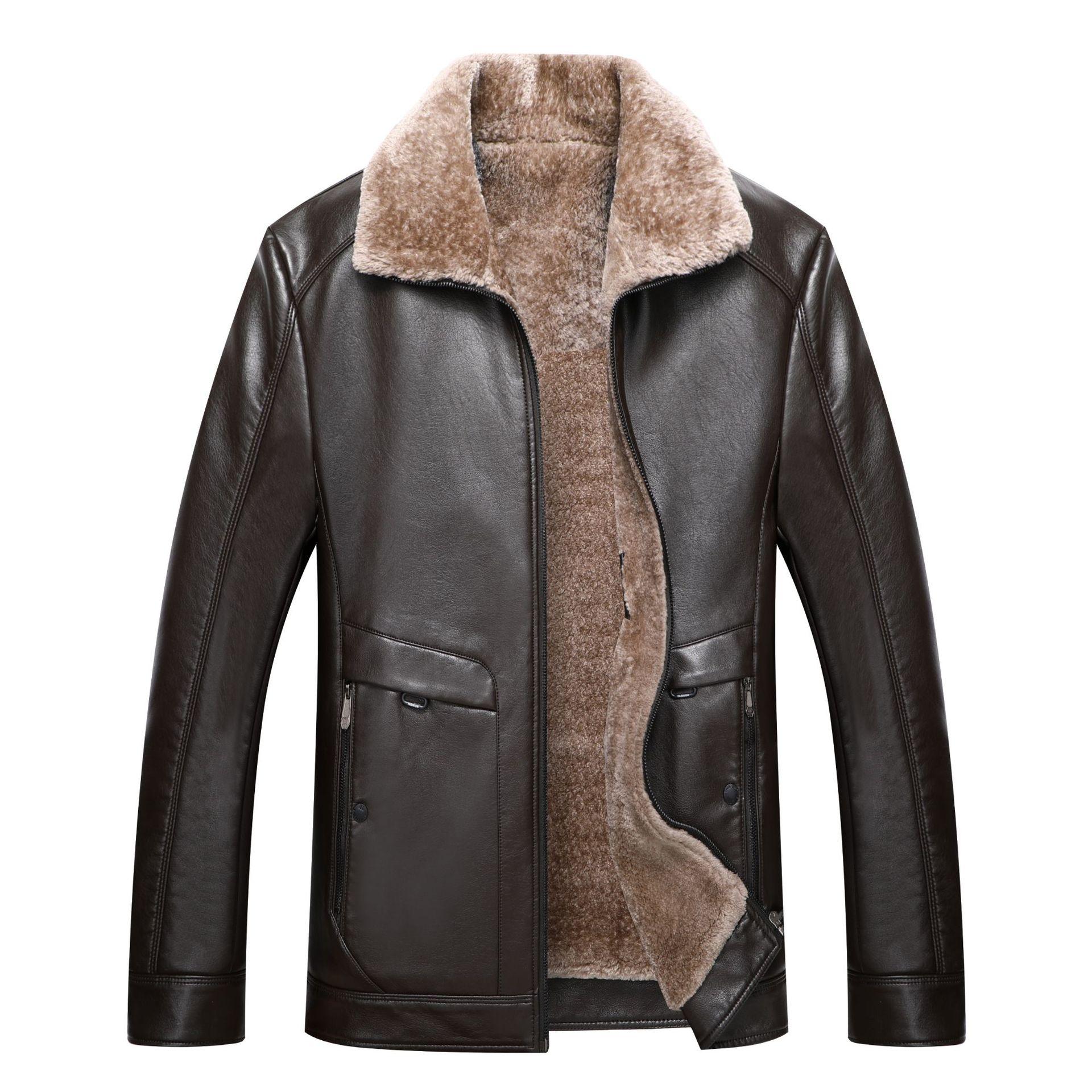 皮毛男210斤PU皮衣加肥胖佬仔特大码加厚绒超大号皮外套7XlPU夹克
