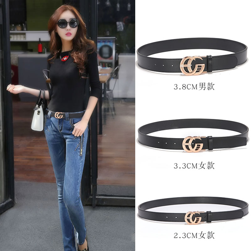 Net red same CG belt womens leather belt CD decoration Korean ins style jeans with double g mens simple and versatile
