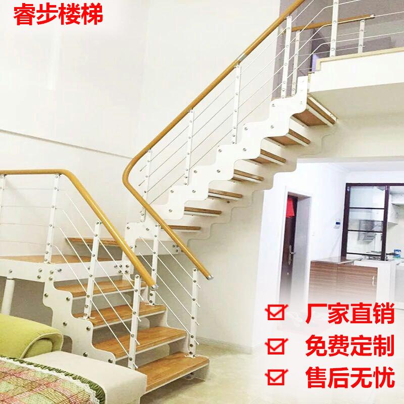 室内楼梯家用扶手栏杆复式实木楼梯立柱旋转楼梯阁楼整体楼梯定制