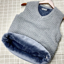 Fall and Winter Furring and Thickening vest Men's sweater Fattening Sleeveless Warming Size Men's Cannon Shoulder Armor Knitted Sweater
