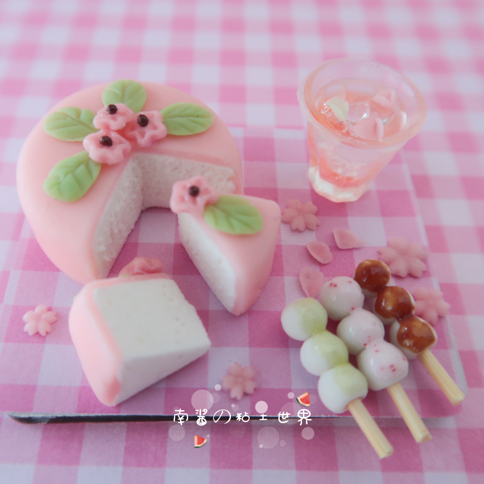 New miniature mini food and play handmade Sakura cake ob11 doll house 12 distribution BJD Japanese Kitchen