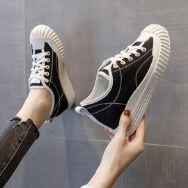 内增高帆布鞋女百搭2020年春季新款小白鞋子贝壳头板鞋ins潮厚底图片