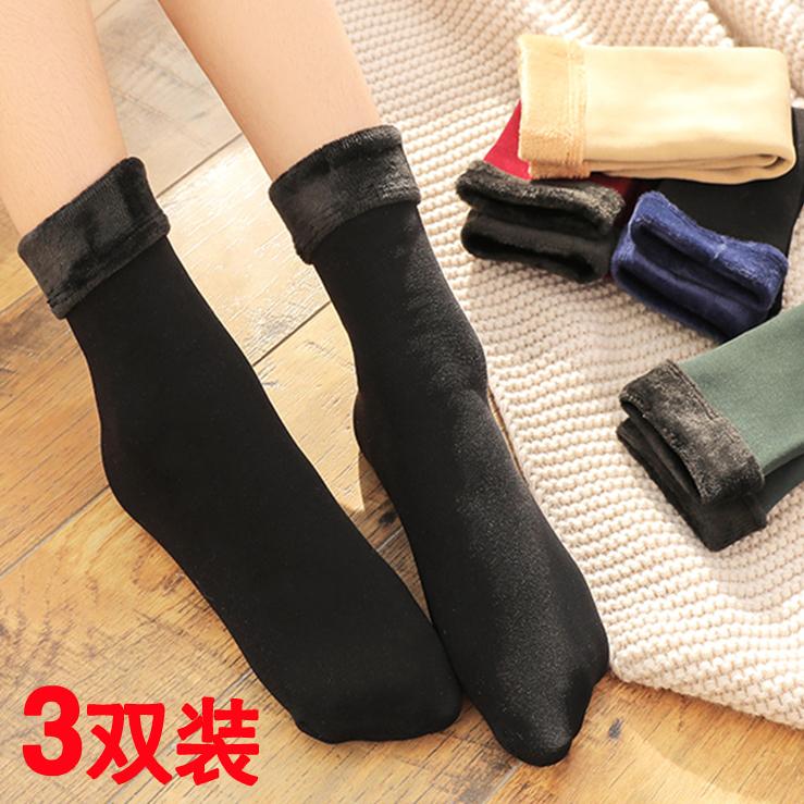 秋冬季新款毛袜子女士中筒袜棉袜短袜加绒加厚保暖毛巾地板袜雪地