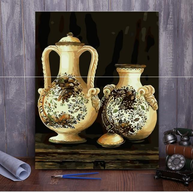 3.0版DIY数字油画静物欧式欧洲竖版填色减压古典花瓶瓷器彩色厚框