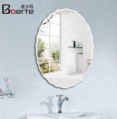 简约欧式椭圆镜卫生间镜子花边无框镜浴室镜壁挂镜化妆镜洗脸盆镜