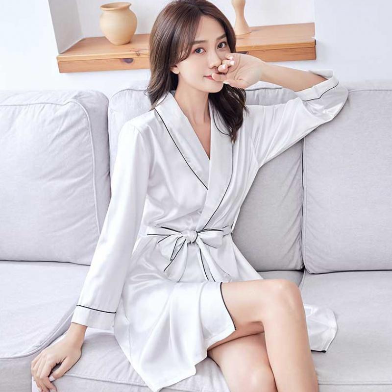 Summer silk pajamas womens spring and autumn robes womens summer sexy ice thin slip nightdress bathrobes summer long bathrobes