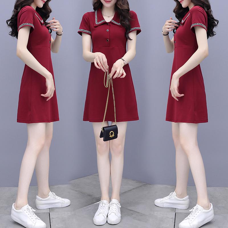 法式小黑裙赫本风娃娃领连衣裙2021新款夏网红显瘦收腰小个子裙子