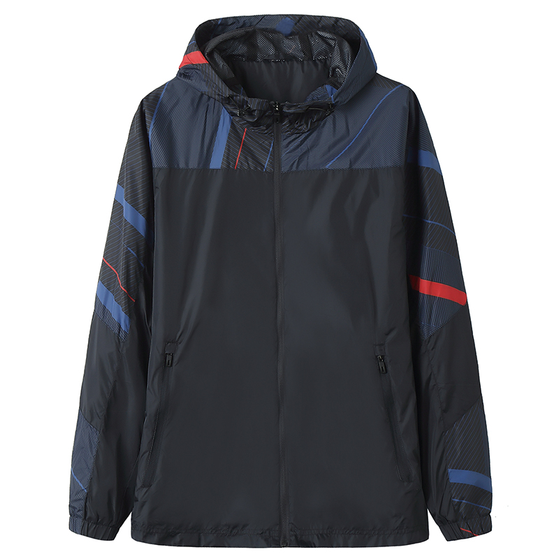 Fat large sports jacket woven coat 2021 spring and autumn thin outdoor mens fat clothes middle-aged and young people