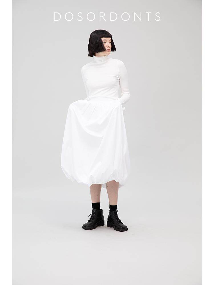 热销72件假一赔十DOSORDONTS 原创设计 复古黑白色中长款显瘦泡泡半身裙2019新款