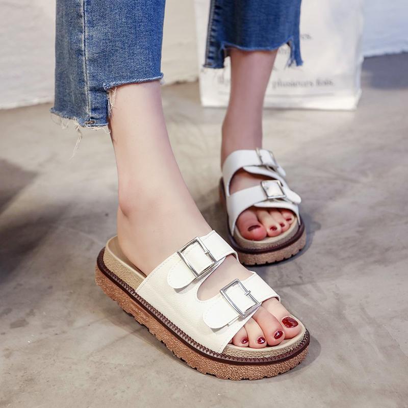 外出拖鞋女夏2020新款松糕厚底一字拖韩版时尚外穿女皮带扣凉拖鞋