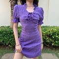 怪诞女孩法式紫色复古连衣裙女短裙