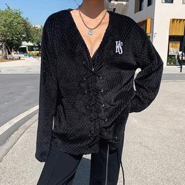 怪诞女孩  赫本风毛绒心机绑带设计外套欧美chic个性嘻哈休闲上衣
