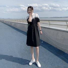 连衣裙女2020夏装新款韩版中长款时尚收腰显瘦拼接撞色欧货A字裙