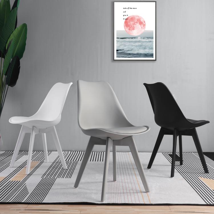 北欧后现代轻奢休闲餐椅单人简约家用成人黑色白色塑料椅子靠背椅